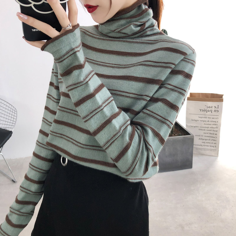 Striped knitwear womens autumn winter 2020 new semi-high-necked sweater long-sleeved slim top bottoms