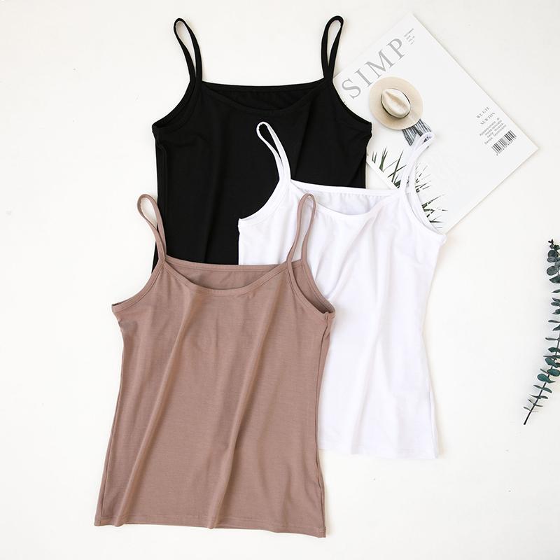 Modal camisole female short slim slim large-size blouse spring and summer with students black base shirt