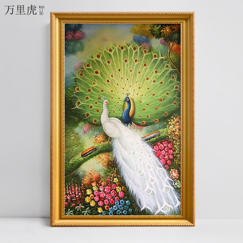 High-end pure hand-painted European-style porch oil painting vertical version of American living room decorative painting villa mural open-screen peacock hanging painting