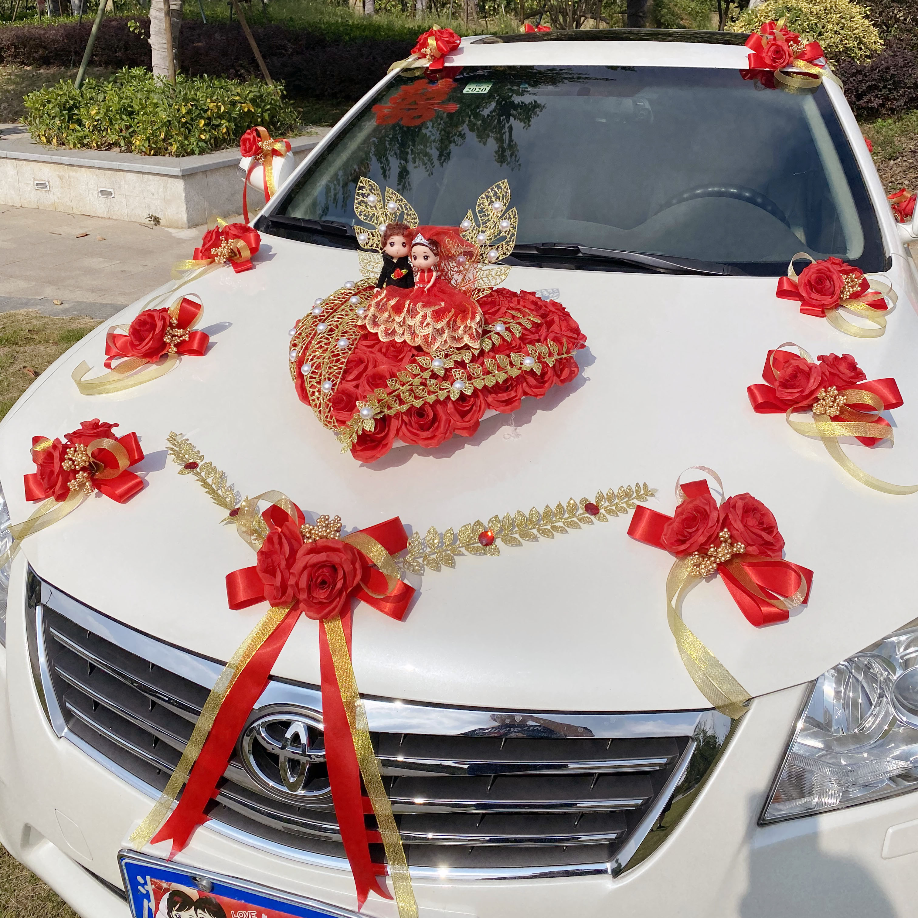 Wedding car decoration Chinese windcart wedding romantic head flower suction cup head flower creative personality 2021