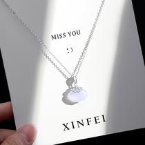 Chalcedony Small Fan Necklace Female Small Skirt Sterling Silver Joker choker 2021 New Birthday Gift