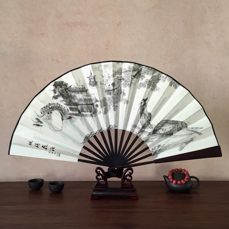 Fan Boys Overbearing 10-inch Chinese Classical Hand-folded Silk Bamboo Style Retro-classic Daily Walk-in Crosstalk Show