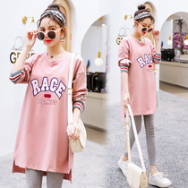 Maternity spring suit fashion in the long section of the new 2020 T-shirt sweater spring shirt two sets of dresses