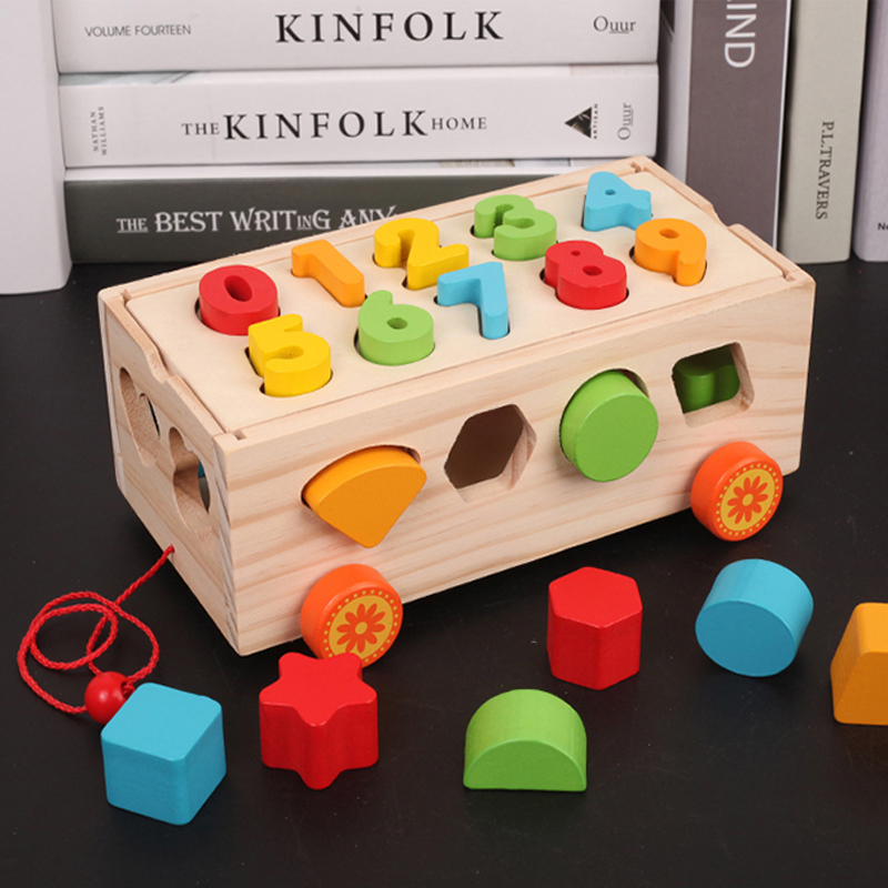 Childrens geometric 13-hole shape paired intelligence box building blocks trolley 1-2-3 years old baby early to teach cognitive toys