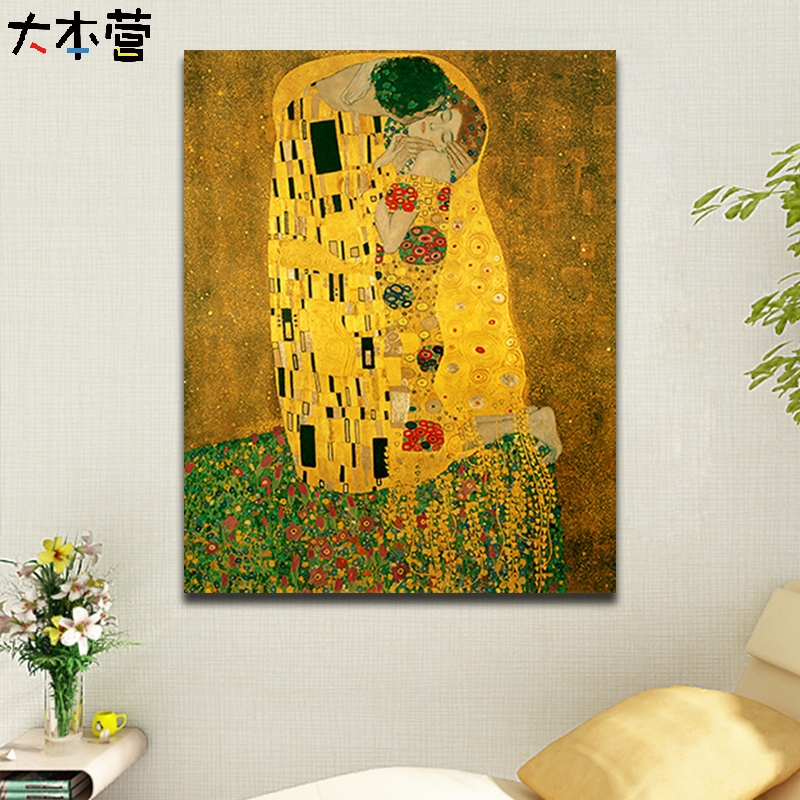 Klimt Kiss Couple Diy Digital Oil Painting Hand Painting Bedroom Hotel Decorative Painting Digital Oil Painting