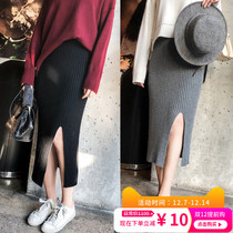 Pregnant woman half skirt wool knitted one step skirt black grey autumn and winter fashion medium long front fork bag hip skirt girl