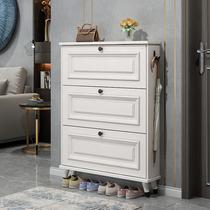 American ultra-thin dump shoe cabinet Large capacity entrance cabinet door household storage space-saving simple solid wood leg shoe rack