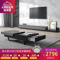 Italian modern multi-function TV cabinet simple living room Nordic retractable coffee table TV cabinet combination wall cabinet floor cabinet