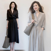 Dressed womens high-waisted 繫 with the summer 2020 new Korean version of the stylish black waist show thin temperament shirt skirt
