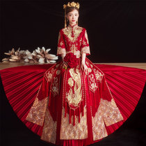 Xiuhe clothing bride 2021 new summer thin wedding clothing small man out of the cabinet clothing large size slim dragon and phoenix coat