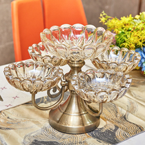 European crystal glass multi lattice candy plate American home living room coffee table creative double fruit plate dry fruit plate