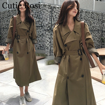 2020 spring wind coat female long paragraph small Korean students college wind high-end temperament 150cm loose