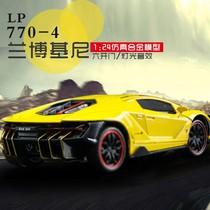 Car 1:24 simulation lambo LP770 alloy car boy acousto-optic resilience toy car model sports car decorations