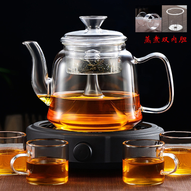 Glass steaming teapot electric pottery stove tea maker steamer distiller domestic heat-resistant steam kettle thickened tea set