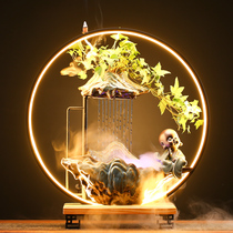 Creative flowing ornaments fountain reflow incense stove landscape living room office tabletop decorations moved to open gift-giving.