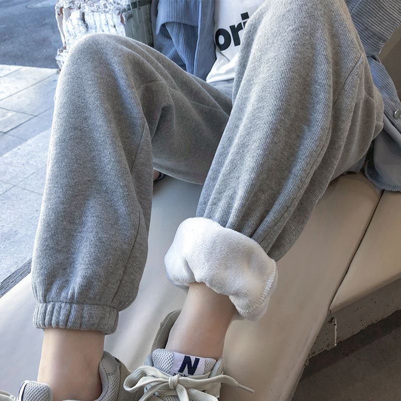 Plus-grey leggings womens large size loose show thin autumn and winter thick straight barrel high-waisted leisure student pants