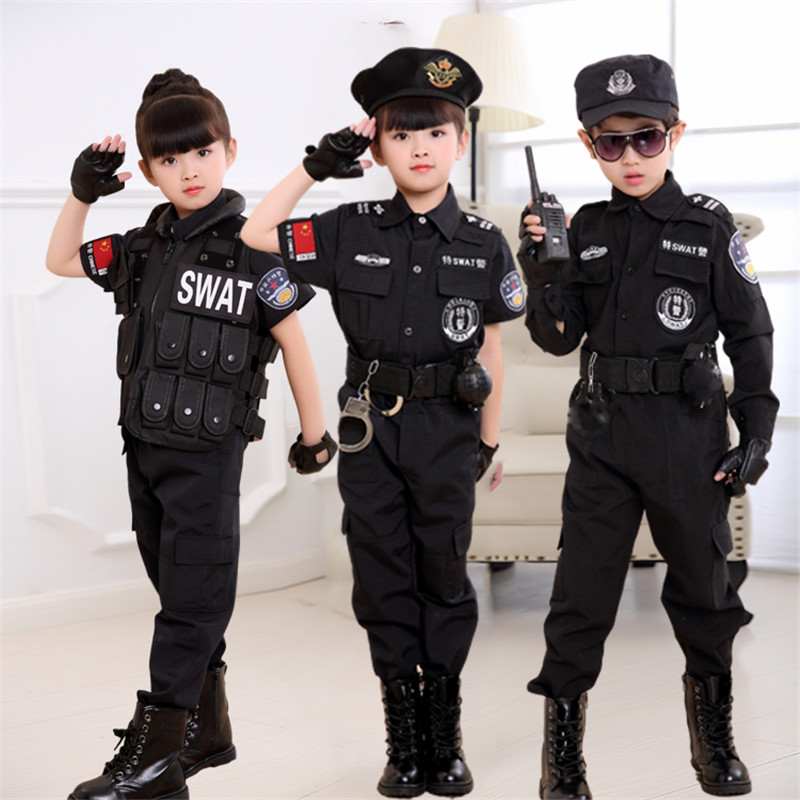 Child police uniform police equipment full of clothing boys special forces police officers dressed in small special police uniforms