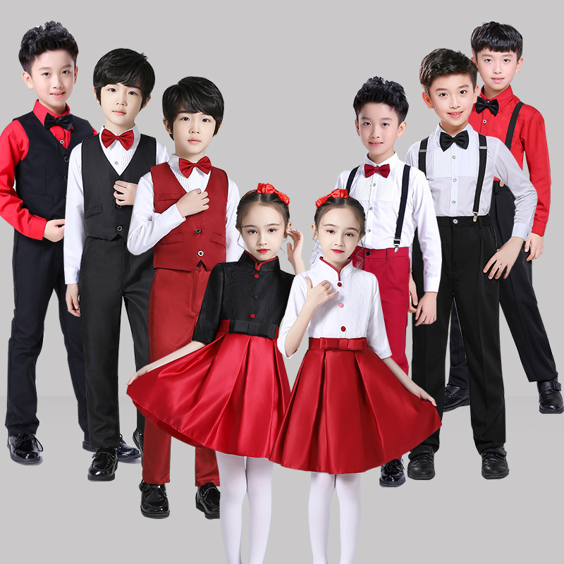Childrens chorus costume schoolboy performance dress Male and female childrens poetry recitation performance dress Student competition dress