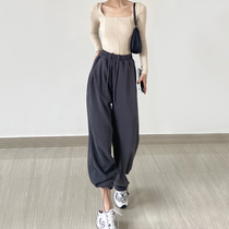 American dark gray draw rope foot sports pants womens spring and autumn high waist loose wide leg pants childrens casual Harlon pants