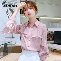 Chiffon shirt womens spring and autumn 2020 new fashion trend temperament womens shirt with long-sleeved top