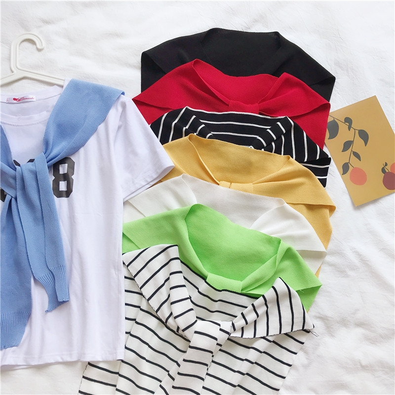Summer fashion Korean version of the student Hong Kong-flavored knitted small bump shoulder student shoulder fake collar knotted strap line shawl tide