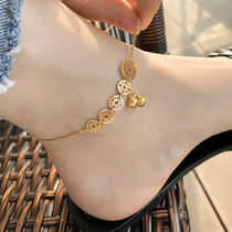 Korean anklet female bell Ancient style Sterling silver net red does not fade exquisite cold wind high-end sense jewelry Copper money accessories