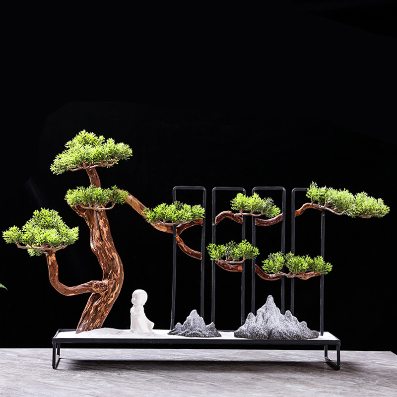 Tangling new Chinese-style tl welcome pine decoration creative solid wood fake mountain sand plate home living room hotel model room