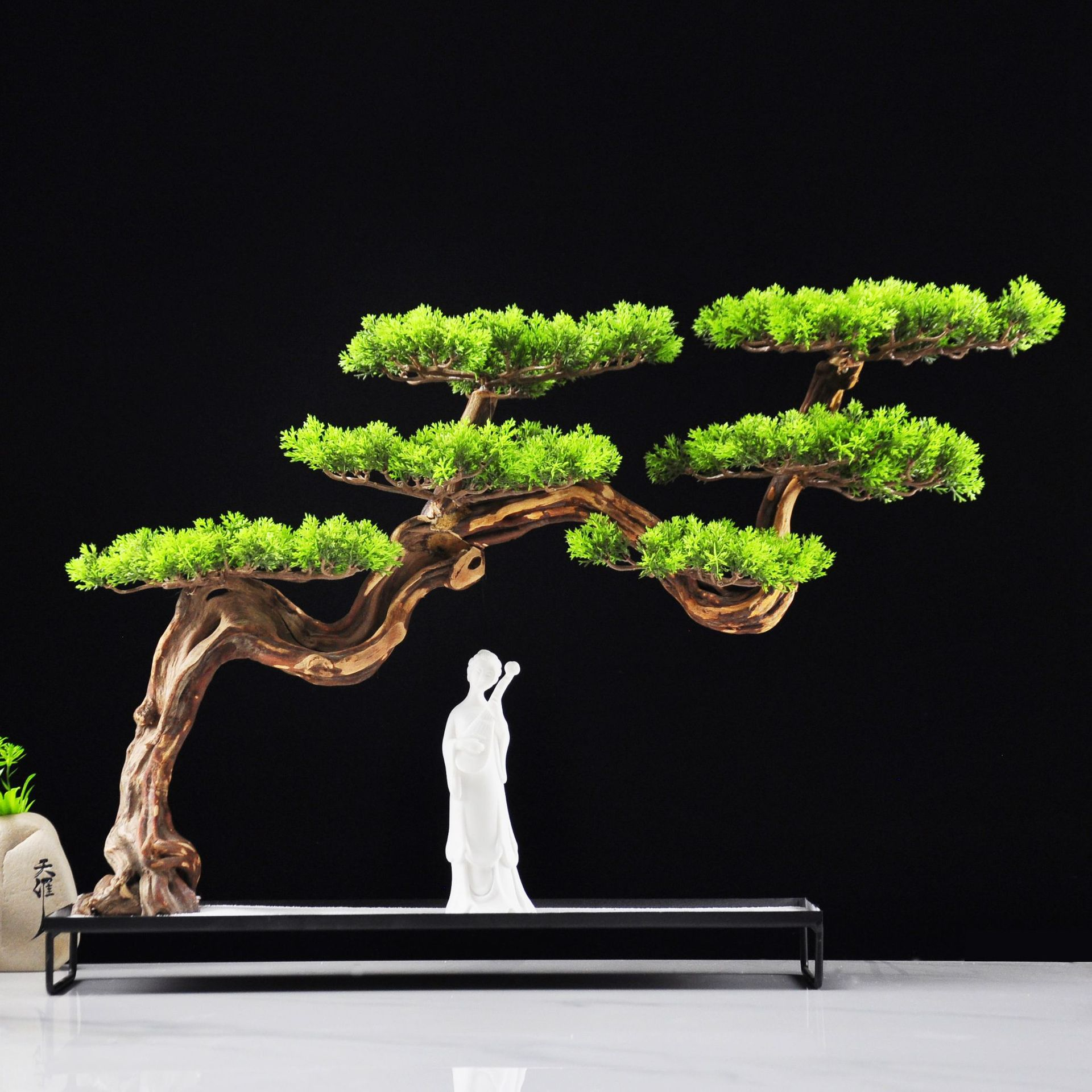 Tangling new Chinese home decoration creative solid wood duo root welcome pine bonsai Zen Hotel clubhouse soft