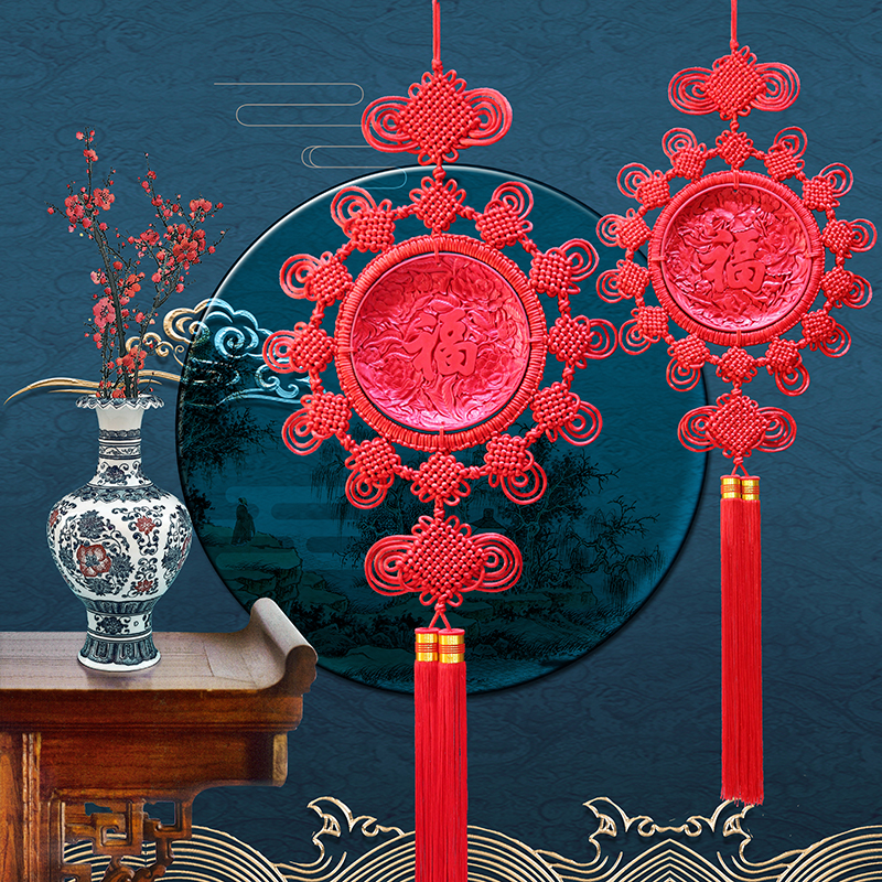 Tian Yuji lacquer carving Chinese knot hanging piece large-size money flowering rich and rich Fu character living room feng shui Xuanguan TV wall