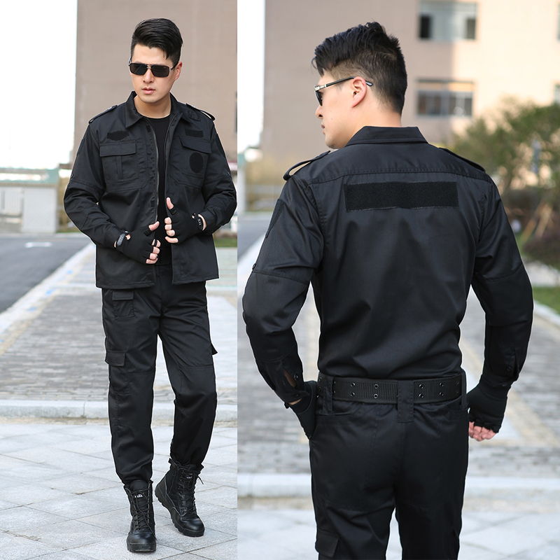 Outdoor Black Security Training Suit Long Sleeve Men's Training Suit