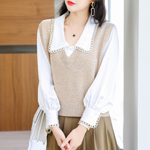 Knitted Vest Women spring and autumn 2021 New 100 pure woolen sweater vest