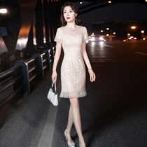 Gao Ding small evening dress Womens summer banquet temperament socialite can usually wear light luxury niche high-end dress champagne color