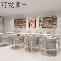 Personality custom ins Nordic double-layer marble net red manicure table and chair set gold iron single double three-person repair