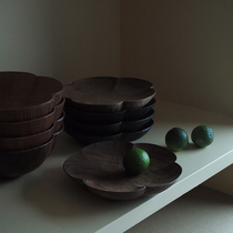 Mo competition mozen ) five petals of flower dishes tea to the black walnut.