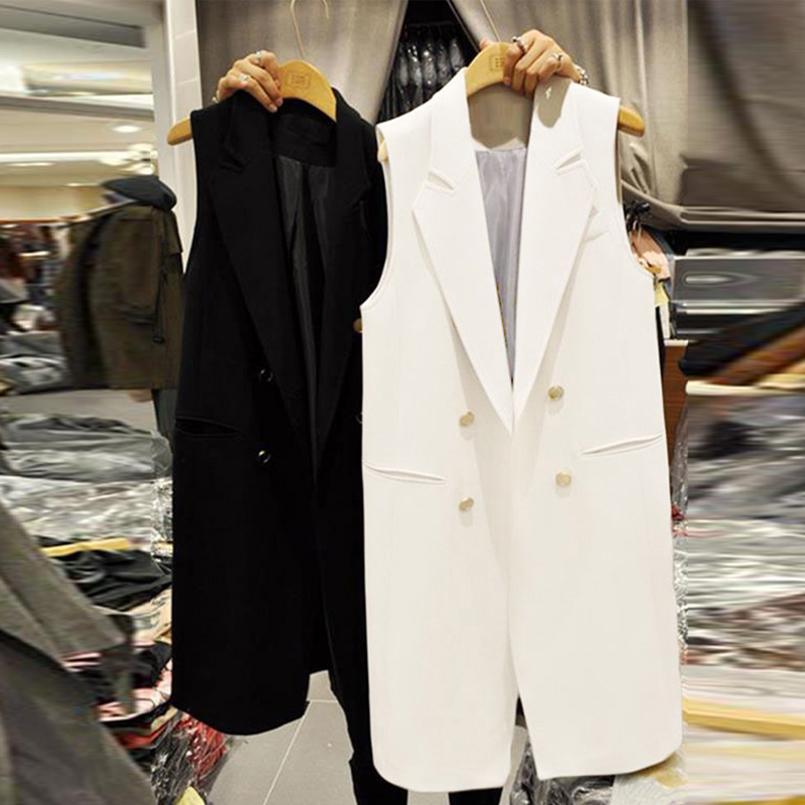 South Korea 2021 spring summer new item medium-long black suit vest womens double breasted slim British style vest jacket