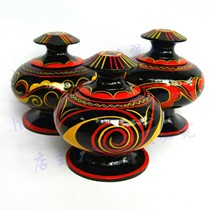 Sichuan Daliang Shanxi Chang specialty Yi folk lacquerware painted handicrafts features with a lid jewelry box small