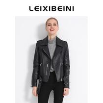 Short leather motorcycle leather jacket womens coat 2021 Autumn New lambskin Korean slim suit collar leather jacket