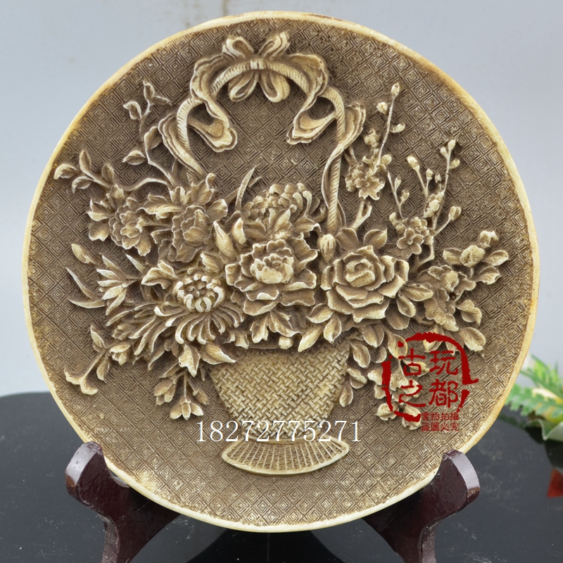 New products on the shelf antique craft gift decoration collection antique pen barrel resin plate ornaments flowers blooming rich send shelves