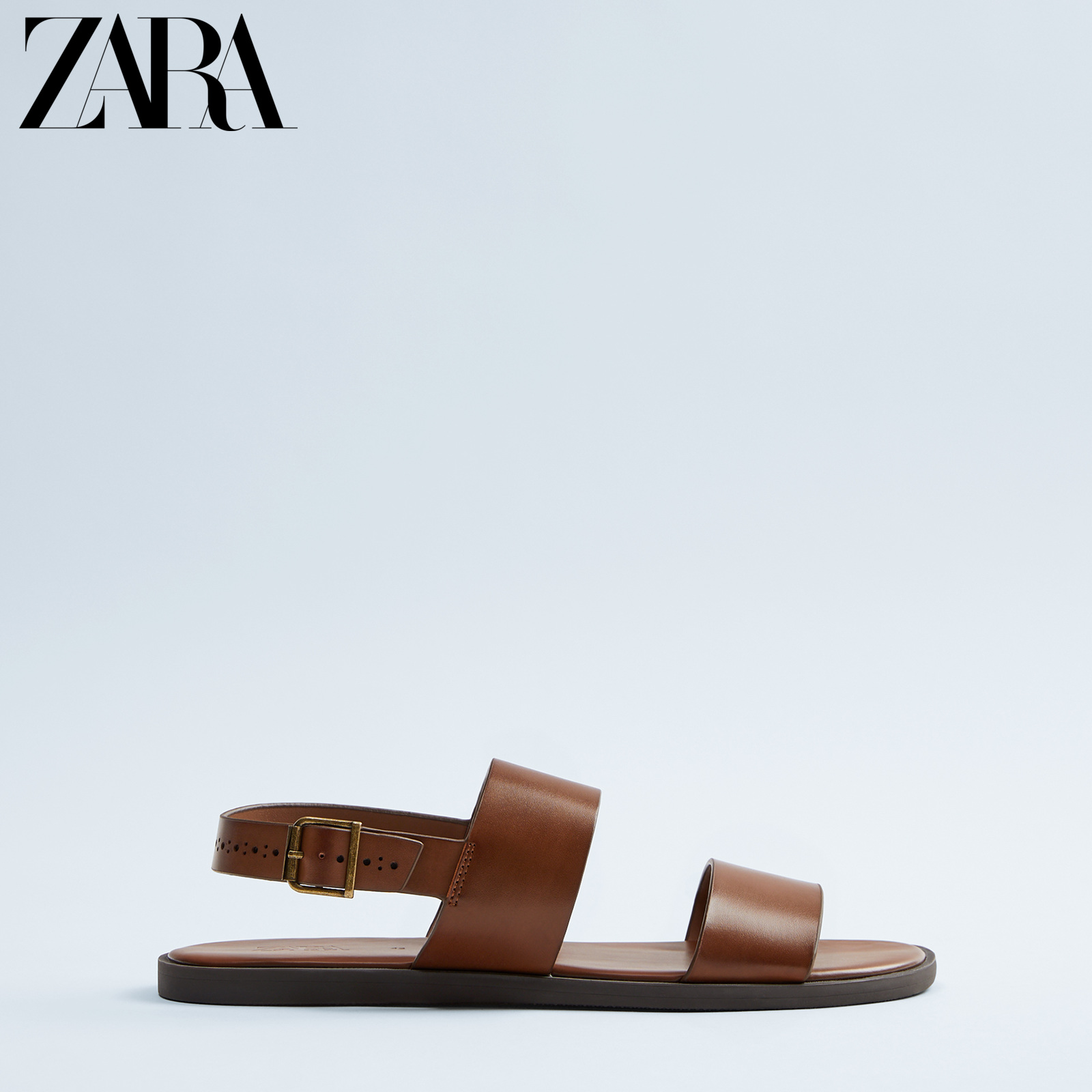 Zara new men's shoes brown buckle decoration Brown Sandals 12704521100