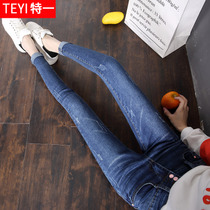 2017 new Korean high waist jeans women autumn double-breasted pants slimming pants autumn feet pencil trousers