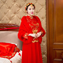 Bridal Shawl 2017 new autumn and winter Red Wedding gown warm Han version coat socialite cloak