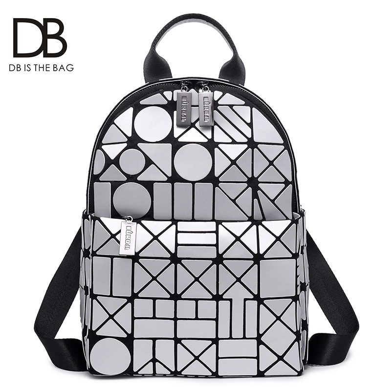 Ins Super Fire Shoulder Backpack Female Autumn 2019 New Fashion Geometric Ringlet Laser Korean Version Baitao Personality Backpack