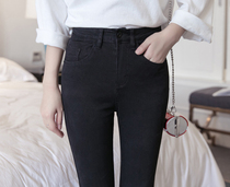 Black spring and summer tight skinny stretch pencil pants
