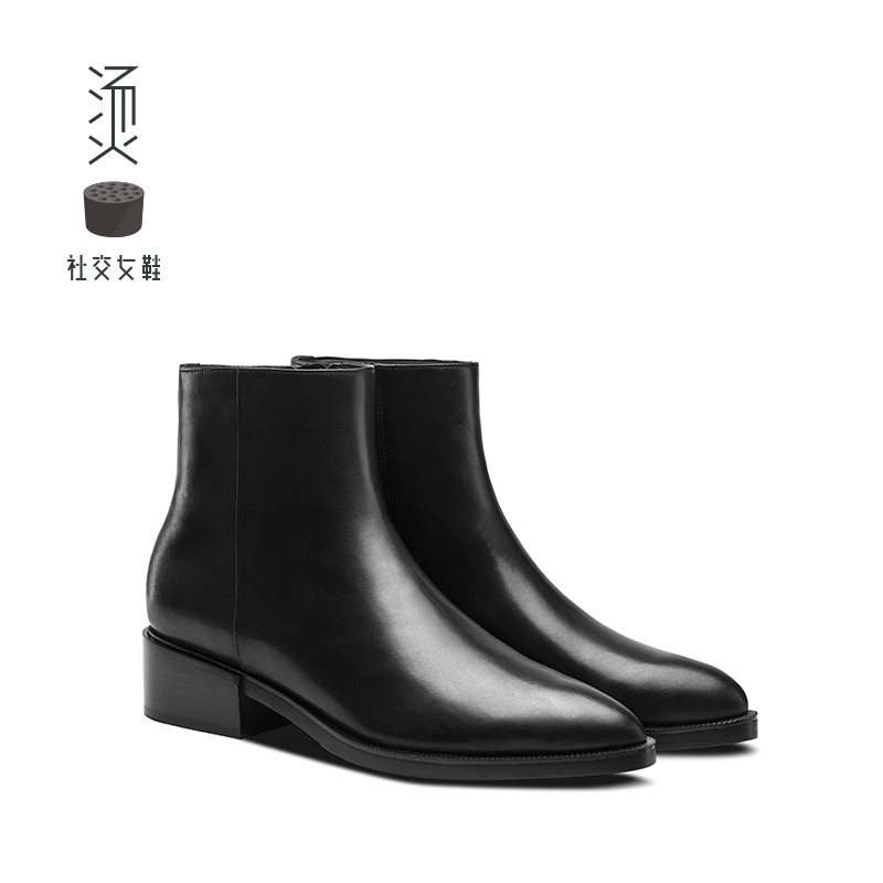 New black leather fashion pointed boots, flat sole, thick heel Chelsea Shoes for hot social women's shoes in autumn and winter