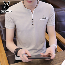 Playboy summer men's short sleeved T-shirt V collar pure color shirt, Korean half sleeved bottoming shirt, trend men's clothing