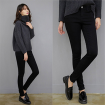 Velvet thickened high waist black spring and autumn Korean version of thin nine-point pants