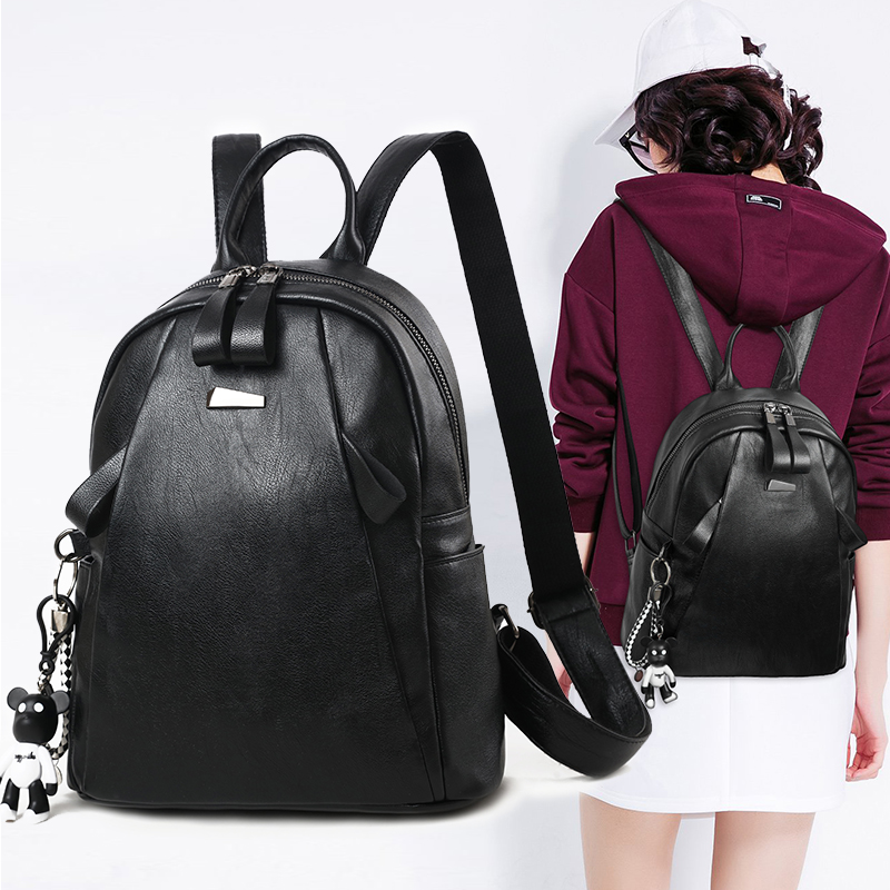 Backpack female 2018 new wave Korean fashion wild personality casual bag pu soft leather bag travel backpack