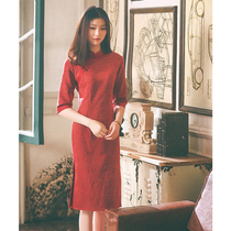 Autumn Spring Vintage modified red girl Chinese style cheongsam