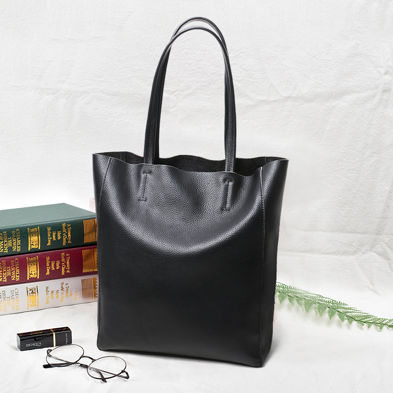 Bag female 2018 new European and American simple tote bag leather shoulder bag large capacity first layer cowhide bag