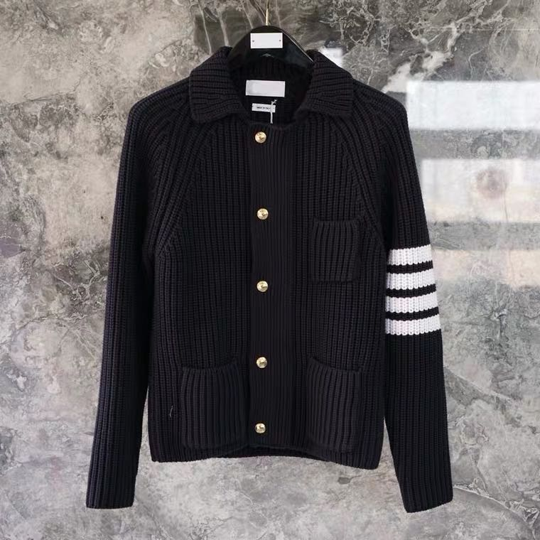 Thom Browne 20 scum pulls up the collar four槓 wool sweater jacket tidal wave